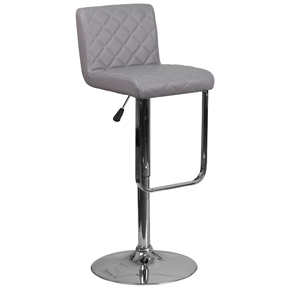 Flash Furniture Contemporary Gray Vinyl Adjustable Height Barstool with Drop Frame and Chrome Base