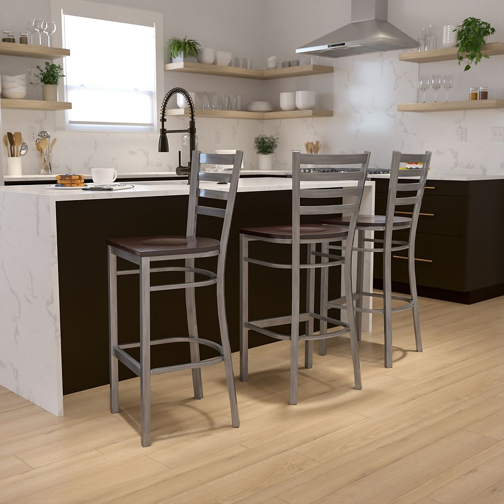 Flash Furniture Clear Ladder Stool-Wal Seat