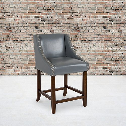"""24"""" Gray Leather/Wood Stool"""