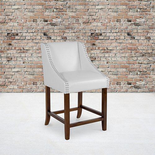 """24"""" White Leather/Wood Stool"""