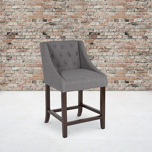 "Flash Furniture 24"" Gray Fabric/Wood Stool"