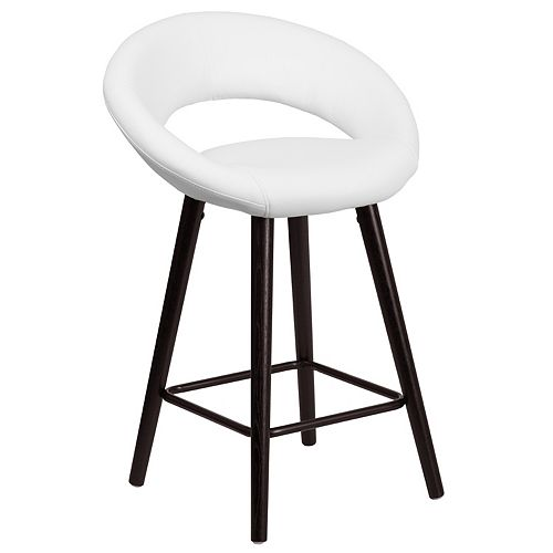 "24""H White Vinyl Counter Stool"