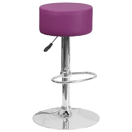 Contemporary Purple Vinyl Adjustable Height Barstool with Round Seat and Chrome Base