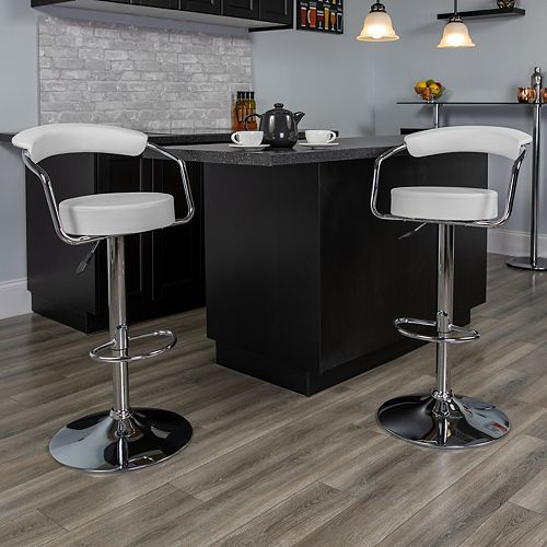 Contemporary White Vinyl Adjustable Height Barstool with Arms and Chrome Base