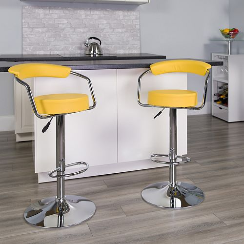 Contemporary Yellow Vinyl Adjustable Height Barstool with Arms and Chrome Base