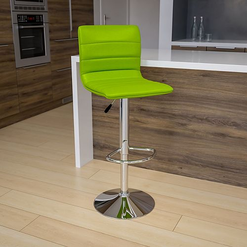 Contemporary Green Vinyl Adjustable Height Barstool with Horizontal Stitch Back and Chrome Base