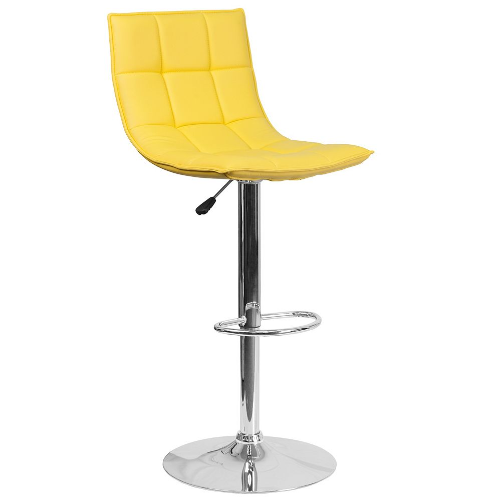 Flash Furniture Yellow Quilted Vinyl Barstool