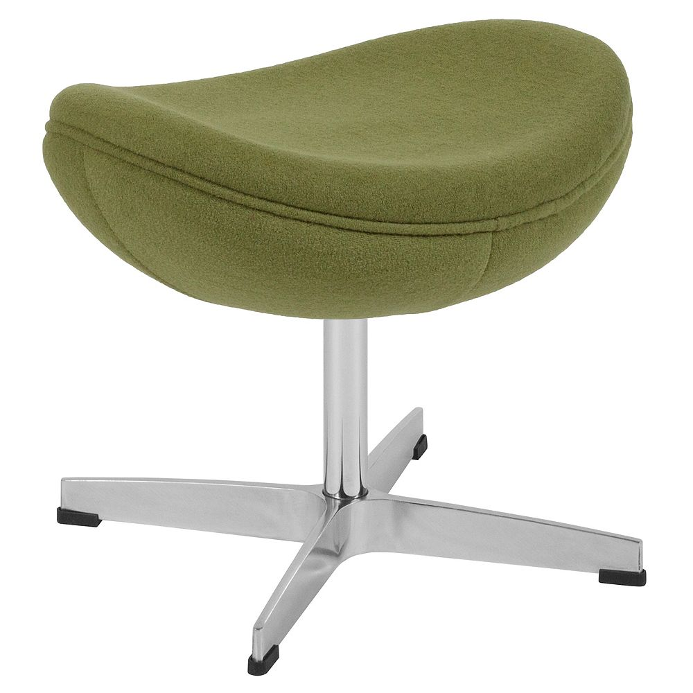 Flash Furniture Grass Green Wool Fabric Ottoman