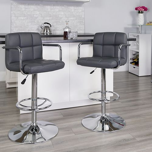 Gray Quilted Vinyl Barstool