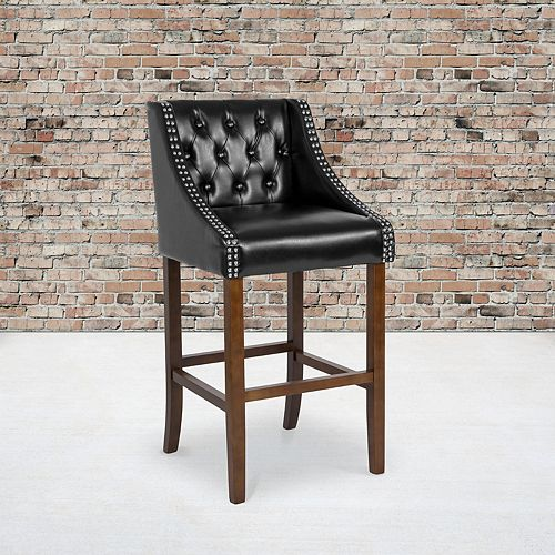 "30"" Black Leather/Wood Stool"