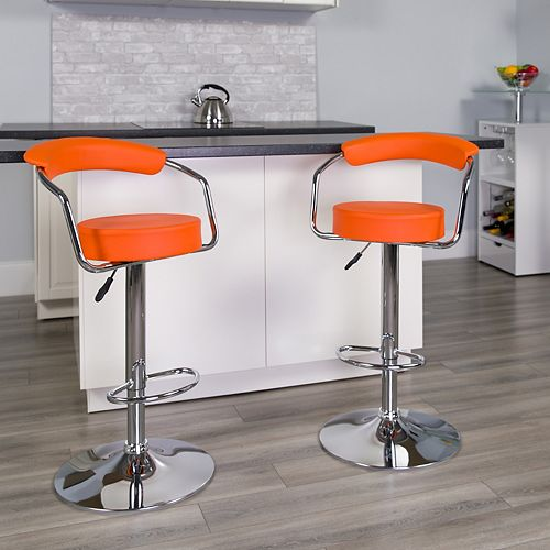 Contemporary Orange Vinyl Adjustable Height Barstool with Arms and Chrome Base