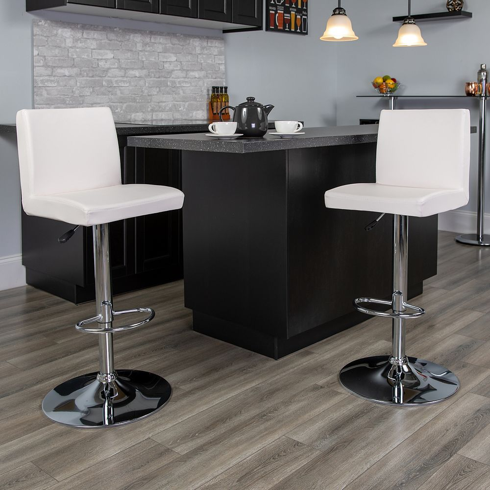 Flash Furniture Contemporary White Vinyl Adjustable Height Barstool with Panel Back and Chrome Base