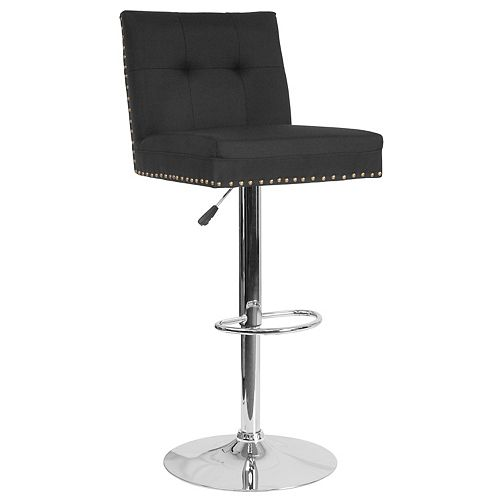 Flash Furniture Ravello Contemporary Adjustable Height Barstool with Accent Nail Trim in Black Fabric