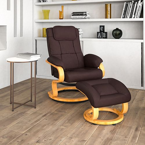 Contemporary Brown Leather Recliner and Ottoman with Swiveling Maple Wood Base