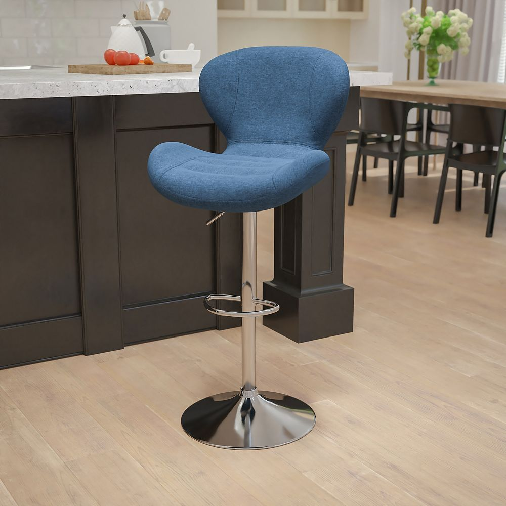 Flash Furniture Contemporary Blue Fabric Adjustable Height Barstool with Curved Back and Chrome Base