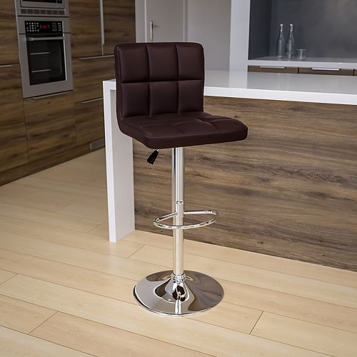 Brown Quilted Vinyl Barstool