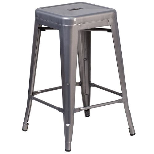 """24"""" Clear No Back Metal Stool"""