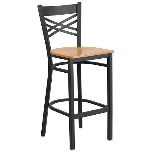 Black X Stool-Nat Seat