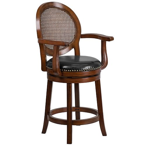 """""""26"""""""" Expresso Wood Stool w/Arms"""""""