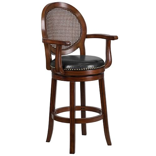 """""""30"""""""" Expresso Wood Stool w/Arms"""""""