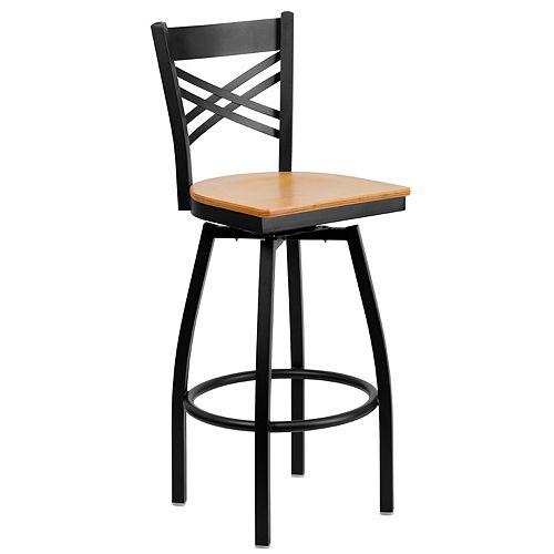 Black X Swivel Stool-Nat Seat