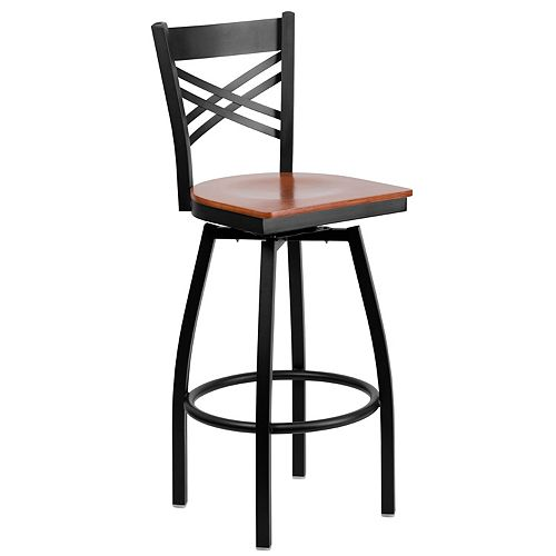 Black X Swivel Stool-Chy Seat