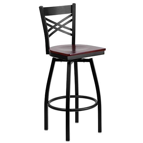 Black X Swivel Stool-Mah Seat