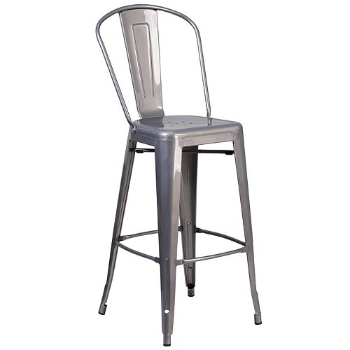 """30"""" Clear Metal Indoor Stool"""