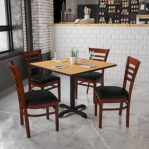 HERCULES Series Ladder Back Mahogany Wood Restaurant Chair - Black Vinyl Seat