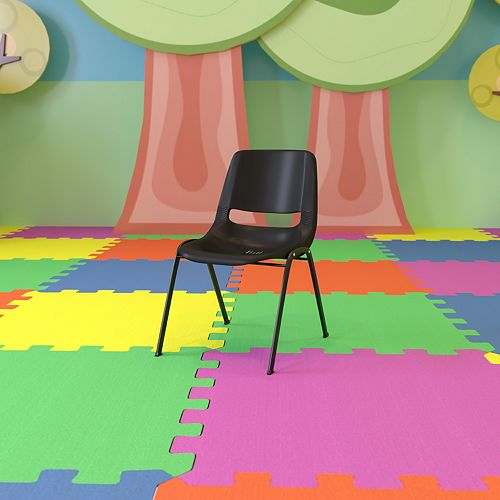 Navy Stack Chair-Black Frame