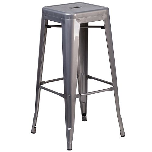"""30"""" Clear No Back Metal Stool"""