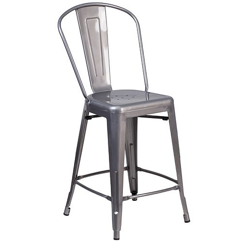 """24"""" Clear Metal Indoor Stool"""