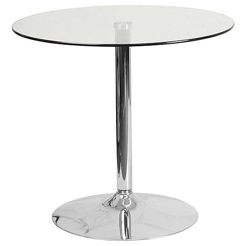 Table ronde en verre de 31,5 pouces avec base en chrome de 29 pouces de hauteur