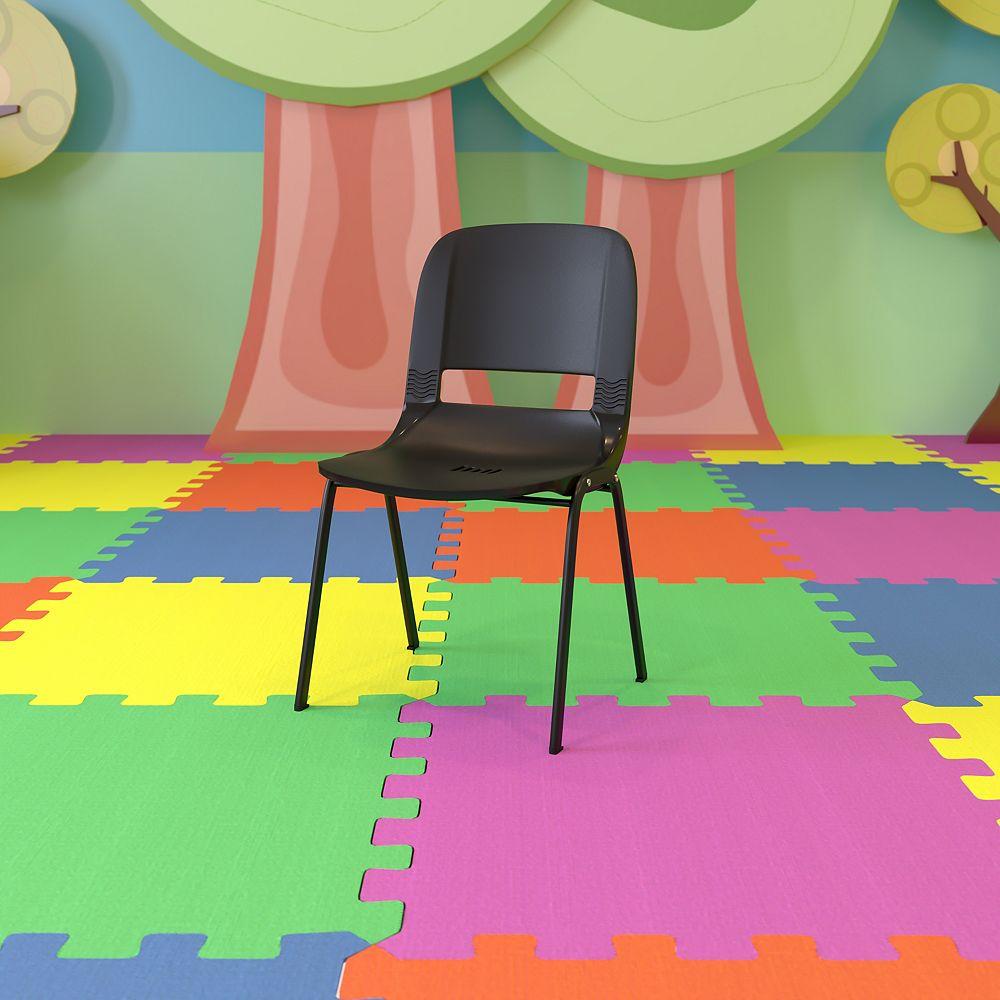 Flash Furniture Black Stack Chair-Black Frame