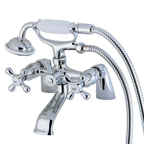 Robinet de baignoire sur pieds Victorian à montage sur tablier, 3 poignées avec douchette, chrome