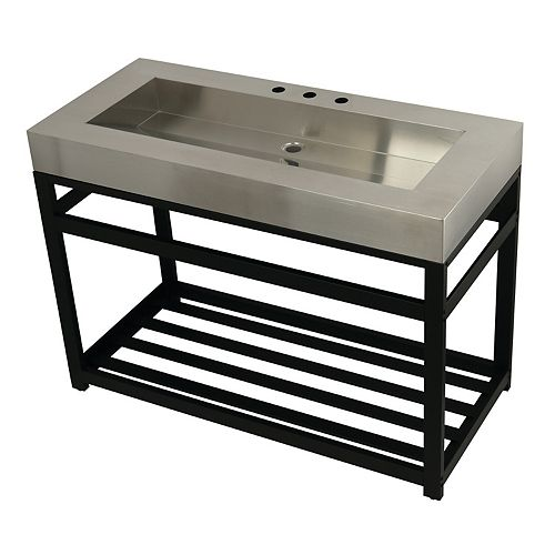 Stainless Steel 49 in. W x 22 in. D x 35 in. H Console Vanity with Base in Matte Black
