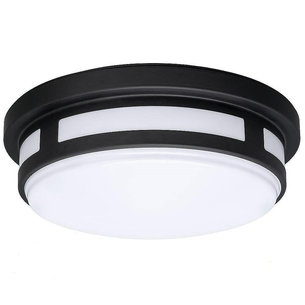 Hampton Bay 11 Inch Round Black Led Flush Mount Light Indoor Outdoor 830 Lumens Wet Rated The Home Depot Canada