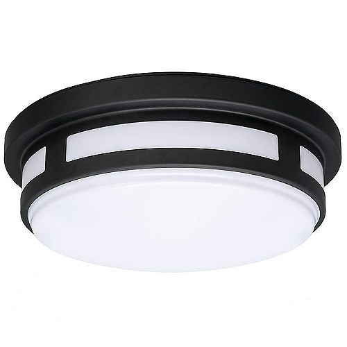 11 inch Round Black LED Flush Mount Light Indoor/Outdoor 830 Lumens Wet Rated 12.5-Watts