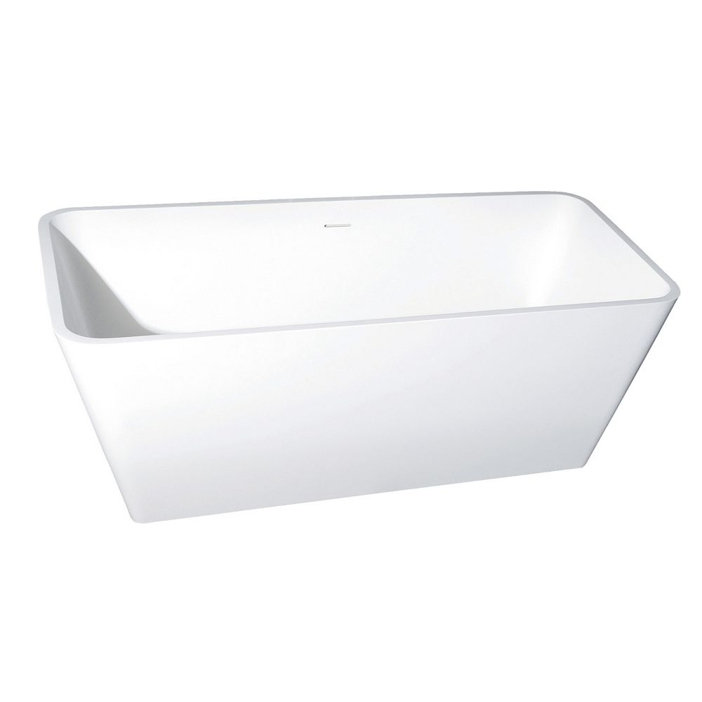 Kingston Brass Lydia 59 in. Solid Surface Matte Stone Flatbottom Freestanding Bathtub in White