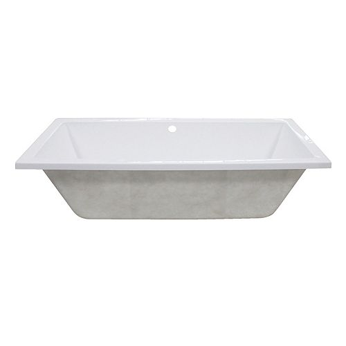 Kingston Brass Contemporary 4.9 ft. Acrylic Rectangular Drop-in Center Drain Bathtub in White