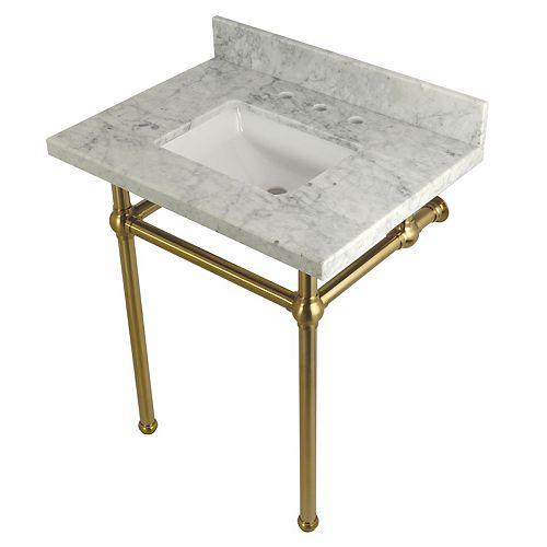 Lavabo carré de 30po. Console en marbre de Carrare avec piétement métallique laiton satiné