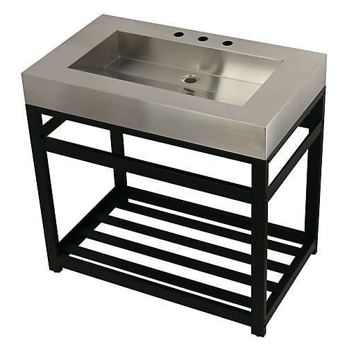 Stainless Steel 37 in. W x 22 in. D x 35 in. H Console Vanity with Base in Matte Black