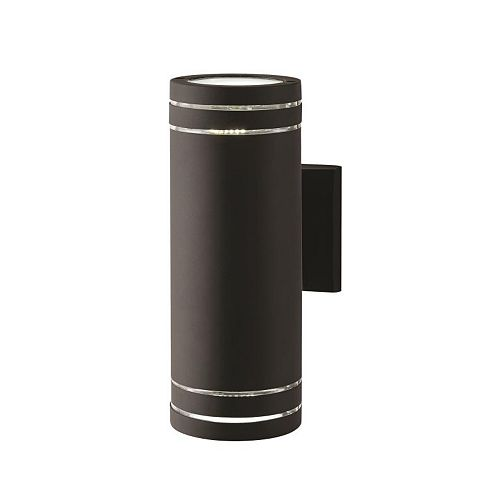 2-Light Stripped Cylinder Black Integrated LED Outdoor Wall Light
