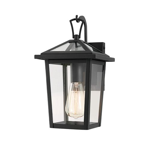 1-light Black Outdoor Hanging Wall Lantern