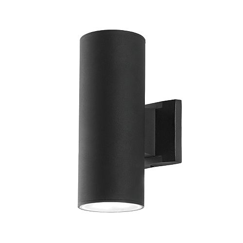 2-light Black Outdoor Cylinder Sconce