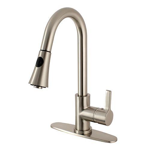 Modern Single-Handle Pull-Down Sprayer Kitchen Faucet in Satin Nickel