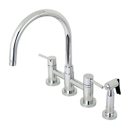 Kingston Brass Modern 2-Handle Bridge Kitchen Faucet with Side Sprayer in Chrome
