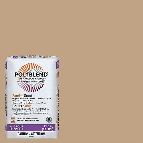 Custom Building Products Polyblend Sanded Grout for Tile and Stone #156 Fawn - 25 lb.