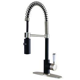 Paris Single-Handle Pull-Down Sprayer Kitchen Faucet in Matte Black/Brushed Nickel