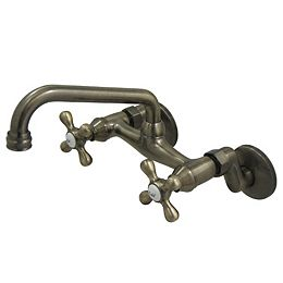Low Spout Adjustable Center 2-Handle Wall-Mount Standard Kitchen Faucet in Vintage Brass